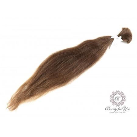 Włosy polskie dziewicze w odcieniu jasnego średniego brązu o długości 73-77 cm i wadze 86 gram