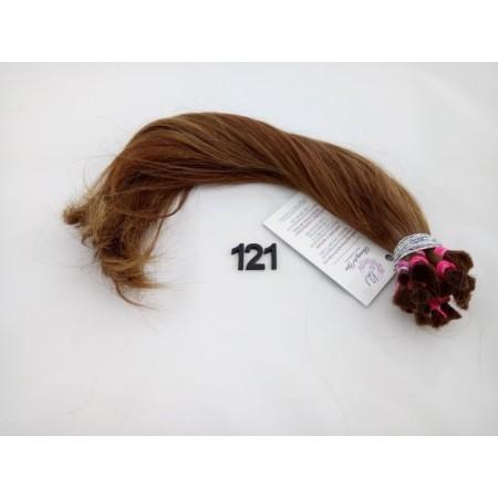 Włosy dziewicze jasny brąz kasztan dł. 37 cm, 88 gram