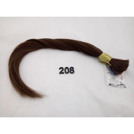 Włosy dziewicze średni brąz dł. 46 cm, 70 gram