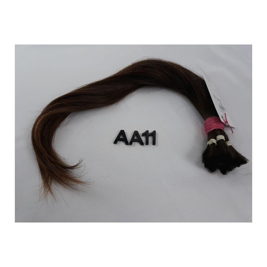 Włosy dziewicze średni brąz dł. 45 cm, 60 gram