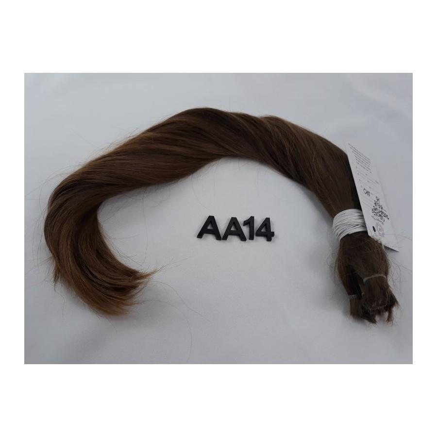 Włosy dziewicze złocisty jasny brąz dł. 45 cm, 110 gram